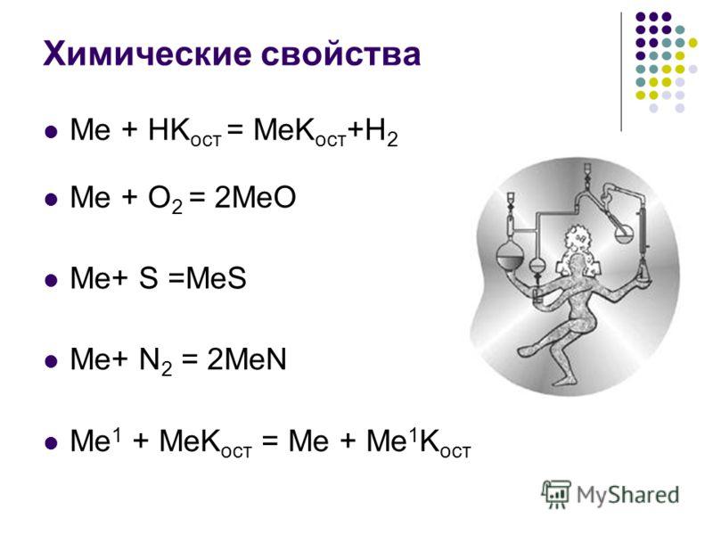 Химические свойства Me + HK ост = MeK ост +H 2 Me + O 2 = 2MeO Me+ S =MeS Me+ N 2 = 2MeN Me 1 + MeK ост = Me + Me 1 K ост