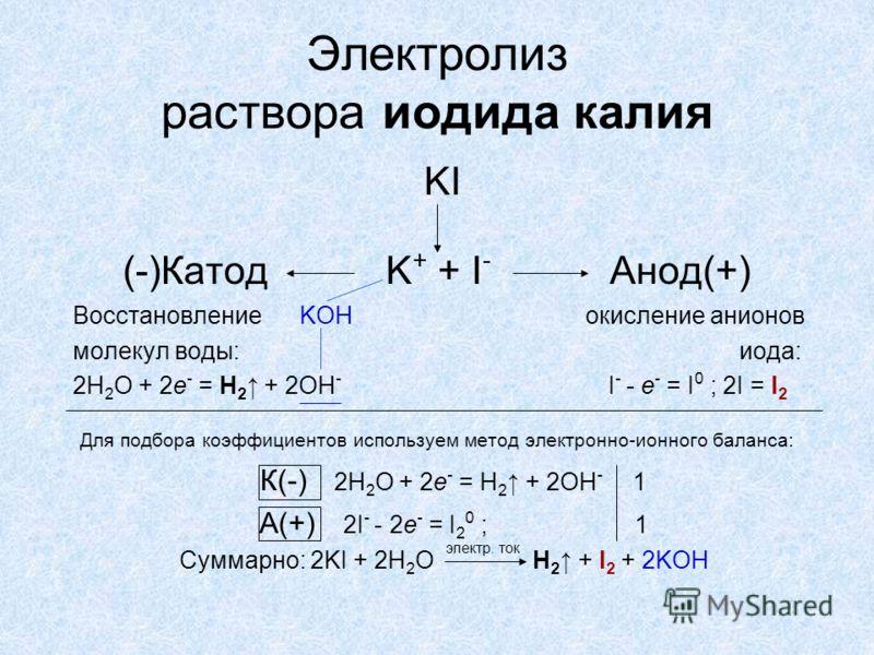 Электролиз раствора иодида