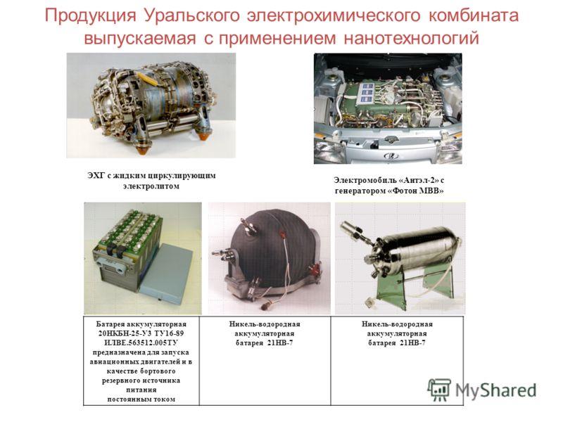 Продукция Уральского электрохимического комбината выпускаемая с применением нанотехнологий Батарея аккумуляторная 20НКБН-25-У3 ТУ16-89 ИЛВЕ.563512.005ТУ предназначена для запуска авиационных двигателей и в качестве бортового резервного источника пита