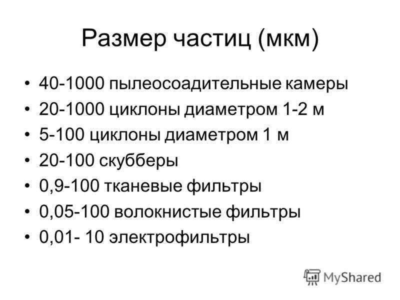 Размер частиц (мкм) 40-1000 пылеосоадительные камеры 20-1000 циклоны диаметром 1-2 м 5-100 циклоны диаметром 1 м 20-100 скубберы 0,9-100 тканевые фильтры 0,05-100 волокнистые фильтры 0,01- 10 электрофильтры