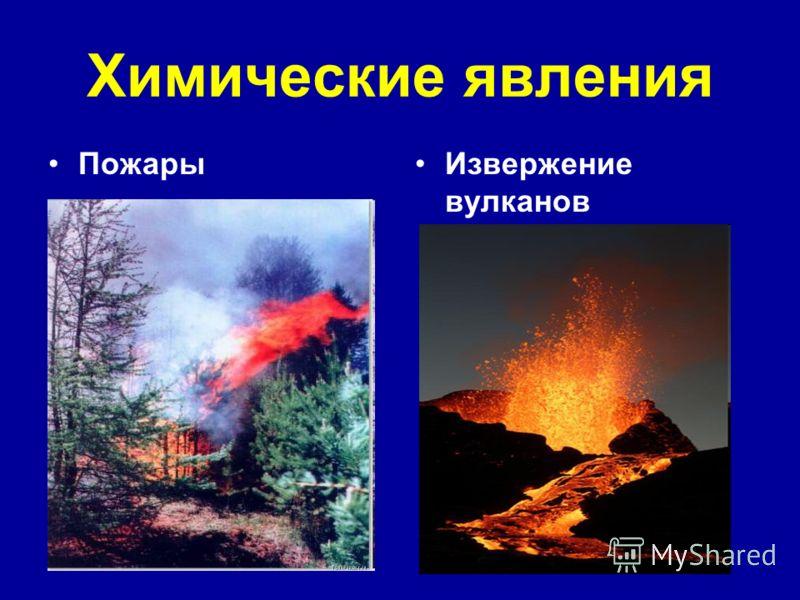 Химические явления ПожарыИзвержение вулканов