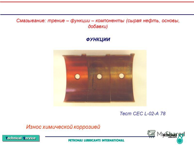 Technical Service ФУНКЦИИ Смазывание: трение – функции – компоненты (сырая нефть, основы, добавки) Износ химической коррозией Тест CEC L-02-A 78