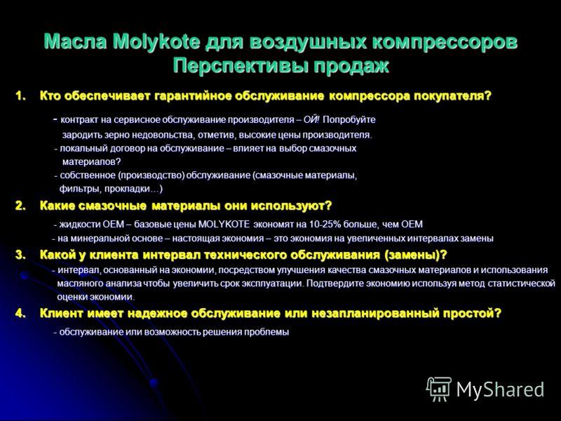 Масла Molykote для воздушных компрессоров Срок службы Срок службы в часах – промышленный стандарт действителен при t=80°C - L-1232, L-1246, L-1268 & L-1210 (PAO) 8000 часов - L-1232, L-1246, L-1268 & L-1210 (PAO) 8000 часов - L-1232FG, L-1246FG (100%