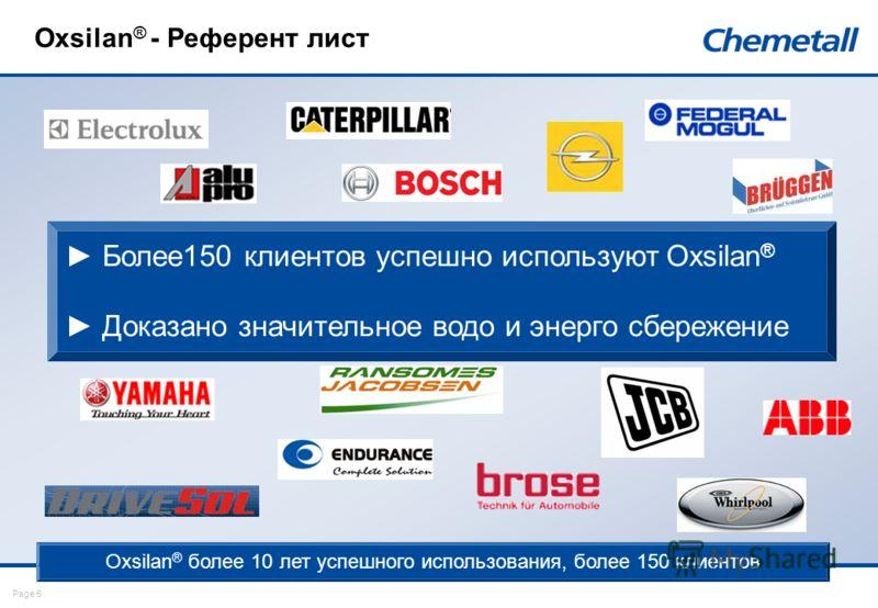 Page 5 Oxsilan ® - Референт лист Oxsilan ® более 10 лет успешного использования, более 150 клиентов Более150 клиентов успешно используют Oxsilan ® Доказано значительное водо и энерго сбережение