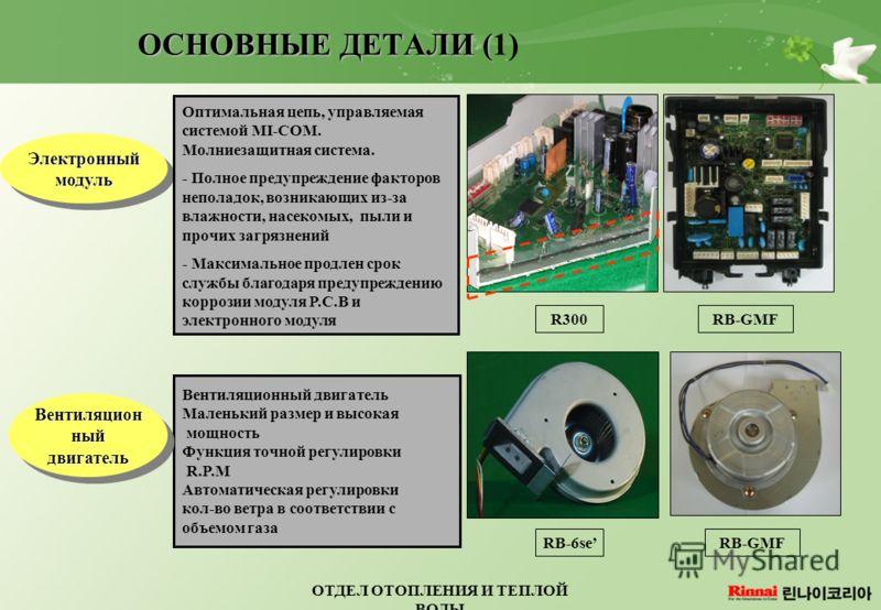 ОТДЕЛ ОТОПЛЕНИЯ И ТЕПЛОЙ ВОДЫ ОСНОВНЫЕ ДЕТАЛИ ( ОСНОВНЫЕ ДЕТАЛИ (1) Электронный модуль Оптимальная цепь, управляемая системой MI-COM. Молниезащитная система. - Полное предупреждение факторов неполадок, возникающих из-за влажности, насекомых, пыли и п