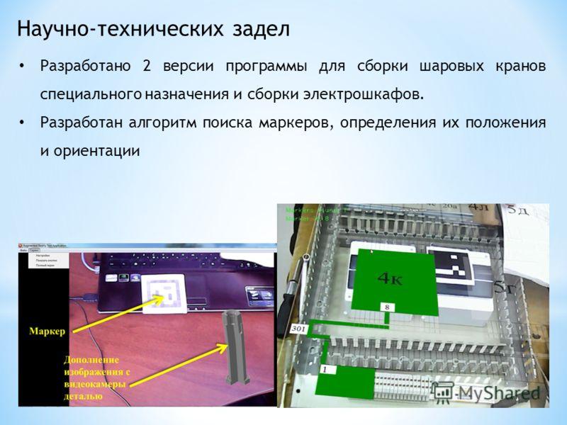 Научно-технических задел Разработано 2 версии программы для сборки шаровых кранов специального назначения и сборки электрошкафов. Разработан алгоритм поиска маркеров, определения их положения и ориентации