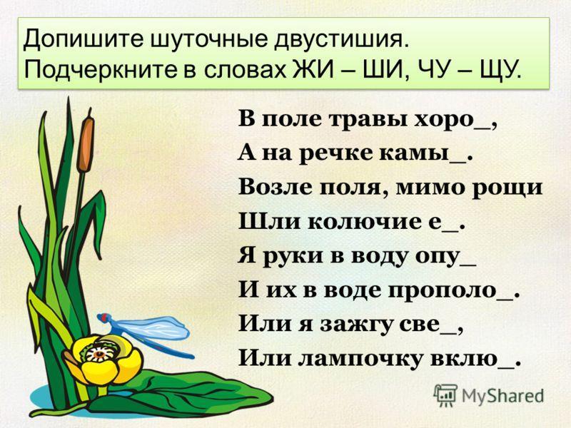 Допишите шуточные двустишия. Подчеркните в словах ЖИ – ШИ, ЧУ – ЩУ. В поле травы хоро_, А на речке камы_. Возле поля, мимо рощи Шли колючие е_. Я руки в воду опу_ И их в воде прополо_. Или я зажгу све_, Или лампочку вклю_.
