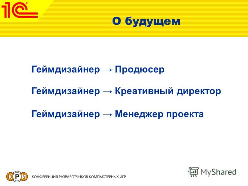 О будущем Геймдизайнер Продюсер Геймдизайнер Креативный директор Геймдизайнер Менеджер проекта