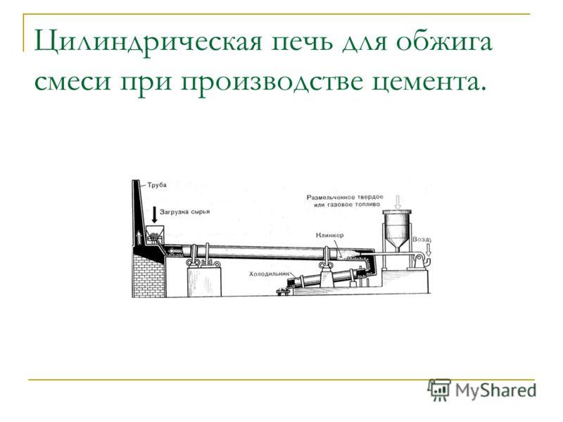 Цилиндрическая печь для обжига смеси при производстве цемента.