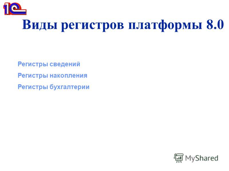 Виды регистров платформы 8.0 Регистры сведений Регистры накопления Регистры бухгалтерии