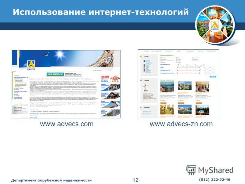 Департамент зарубежной недвижимости 12 (812) 322-52-46 Использование интернет-технологий www.advecs.comwww.advecs-zn.com