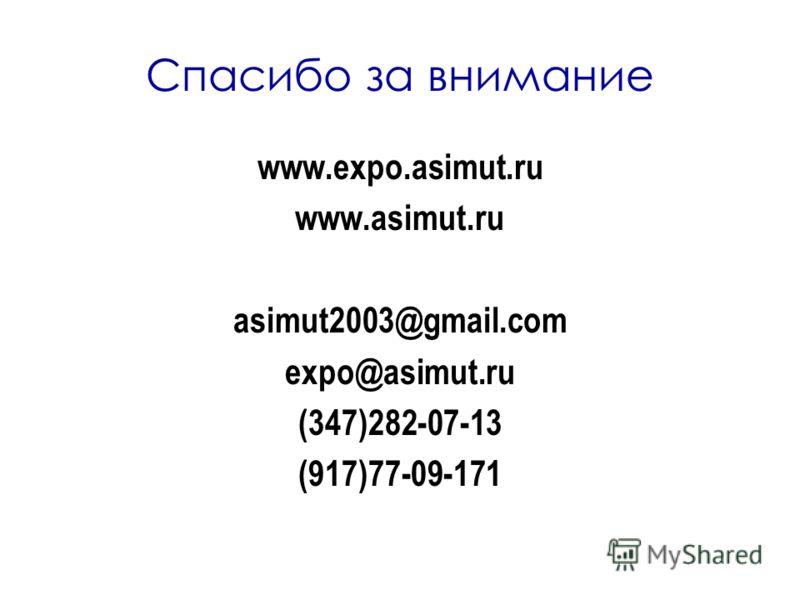 Спасибо за внимание www.expo.asimut.ru www.asimut.ru asimut2003@gmail.com expo@asimut.ru (347)282-07-13 (917)77-09-171