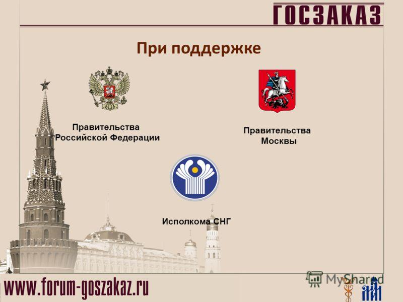 Правительства Российской Федерации Правительства Москвы Исполкома СНГ При поддержке