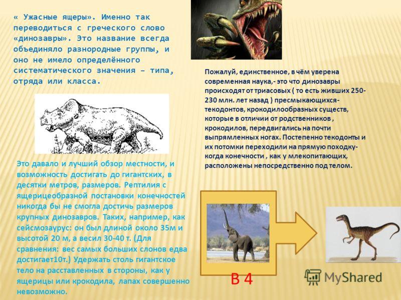 « Ужасные ящеры». Именно так переводиться с греческого слово «динозавры». Это название всегда объединяло разнородные группы, и оно не имело определённого систематического значения – типа, отряда или класса. Это давало и лучший обзор местности, и возм