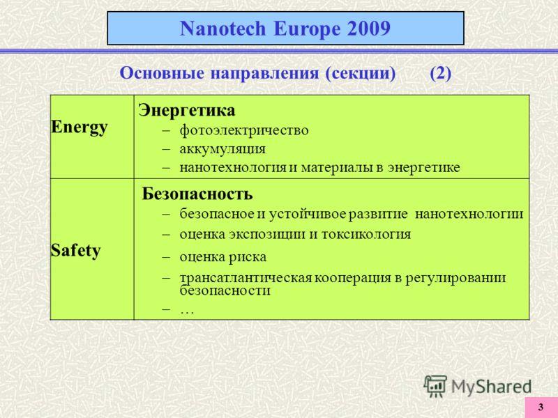 3 Nanotech Europe 2009 Основные направления (секции) (2) Energy Энергетика –фотоэлектричество –аккумуляция –нанотехнология и материалы в энергетике Safety Безопасность –безопасное и устойчивое развитие нанотехнологии –оценка экспозиции и токсикология