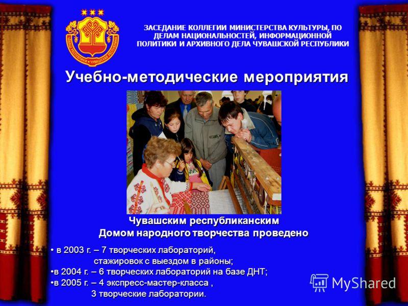 Учебно-методические мероприятия Чувашским республиканским Домом народного творчества проведено в 2003 г. – 7 творческих лабораторий, в 2003 г. – 7 творческих лабораторий, стажировок с выездом в районы; стажировок с выездом в районы; в 2004 г. – 6 тво