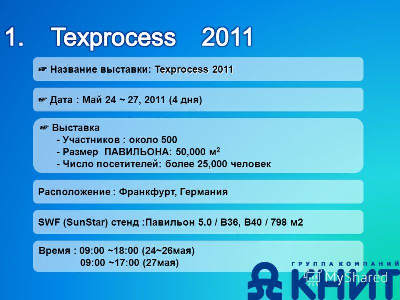 Texprocess 2011 Название выставки: Texprocess 2011 Дата : Май 24 ~ 27, 2011 (4 дня) Выставка - Участников : около 500 - Размер ПАВИЛЬОНА: 50,000 м 2 - Число посетителей: более 25,000 человек Расположение : Франкфурт, Германия SWF (SunStar) стенд :Пав