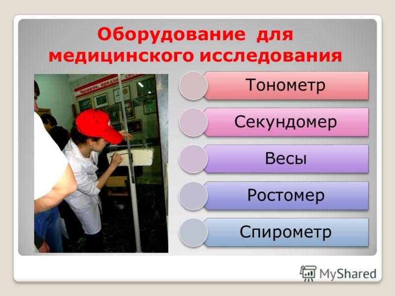 Оборудование для медицинского исследования Тонометр Секундомер Весы Ростомер Спирометр
