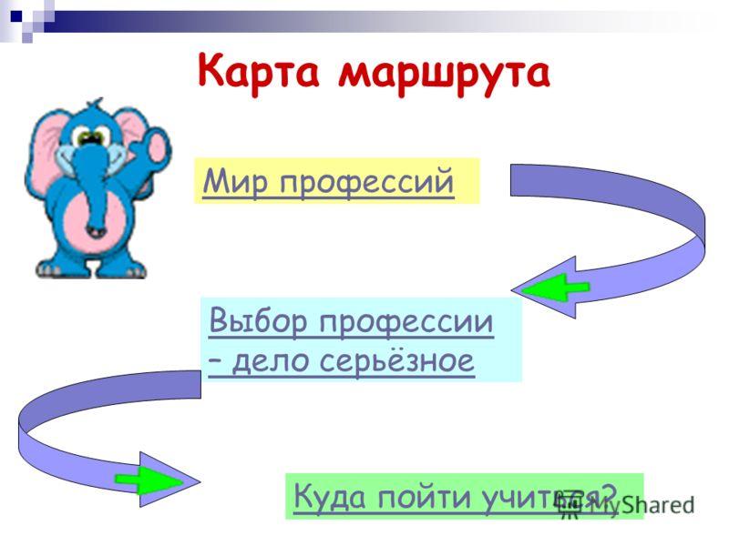 Карта маршрута Мир профессий Куда пойти учиться? Выбор профессии – дело серьёзное