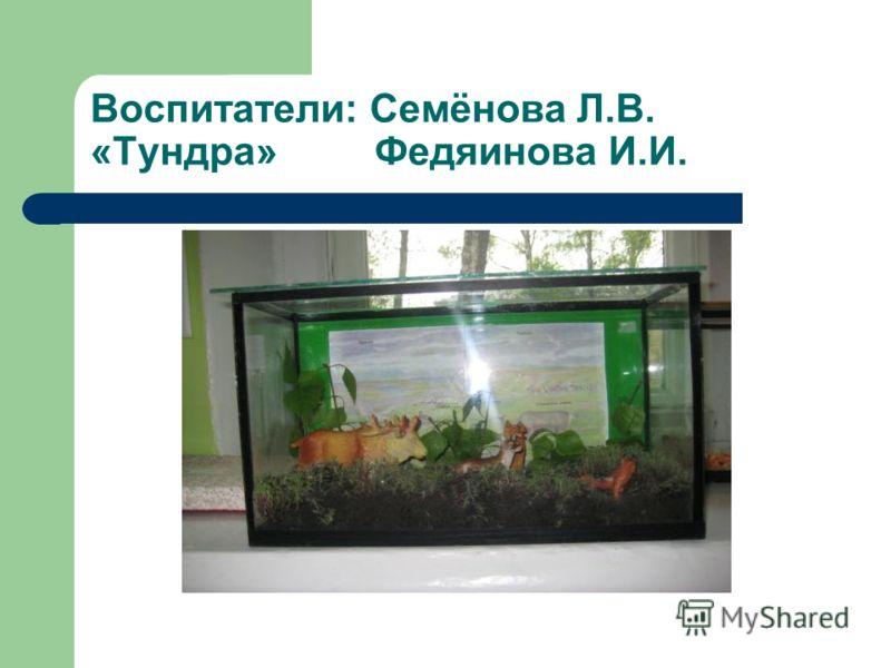 Воспитатели: Семёнова Л.В. «Тундра» Федяинова И.И.