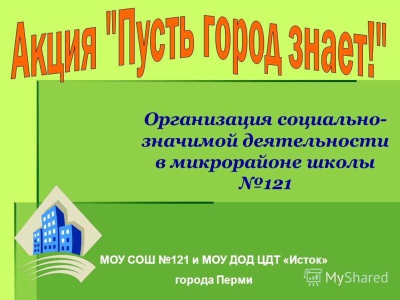Организация социально- значимой деятельности в микрорайоне школы 121 МОУ СОШ 121 и МОУ ДОД ЦДТ «Исток» города Перми
