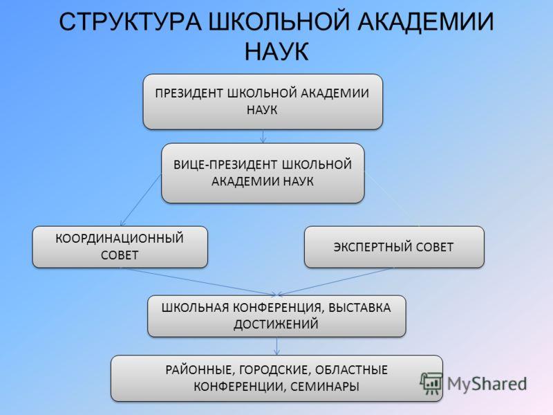 СТРУКТУРА ШКОЛЬНОЙ АКАДЕМИИ НАУК ПРЕЗИДЕНТ ШКОЛЬНОЙ АКАДЕМИИ НАУК ВИЦЕ-ПРЕЗИДЕНТ ШКОЛЬНОЙ АКАДЕМИИ НАУК КООРДИНАЦИОННЫЙ СОВЕТ ЭКСПЕРТНЫЙ СОВЕТ ШКОЛЬНАЯ КОНФЕРЕНЦИЯ, ВЫСТАВКА ДОСТИЖЕНИЙ РАЙОННЫЕ, ГОРОДСКИЕ, ОБЛАСТНЫЕ КОНФЕРЕНЦИИ, СЕМИНАРЫ