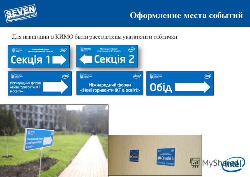 Оформление места событий Для навигации в КИМО были расставлены указатели и таблички