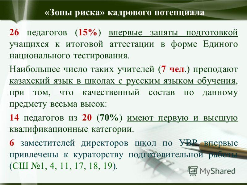 «Зоны риска» кадрового потенциала 26 педагогов (15%) впервые заняты подготовкой учащихся к итоговой аттестации в форме Единого национального тестирования. Наибольшее число таких учителей (7 чел.) преподают казахский язык в школах с русским языком обу