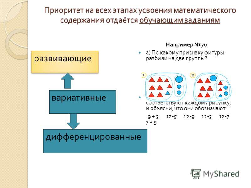 Приоритет на всех этапах усвоения математического содержания отдаётся обучающим заданиям Приоритет на всех этапах усвоения математического содержания отдаётся обучающим заданиям Например 70 а ) По какому признаку фигуры разбили на две группы ? б ) Вы