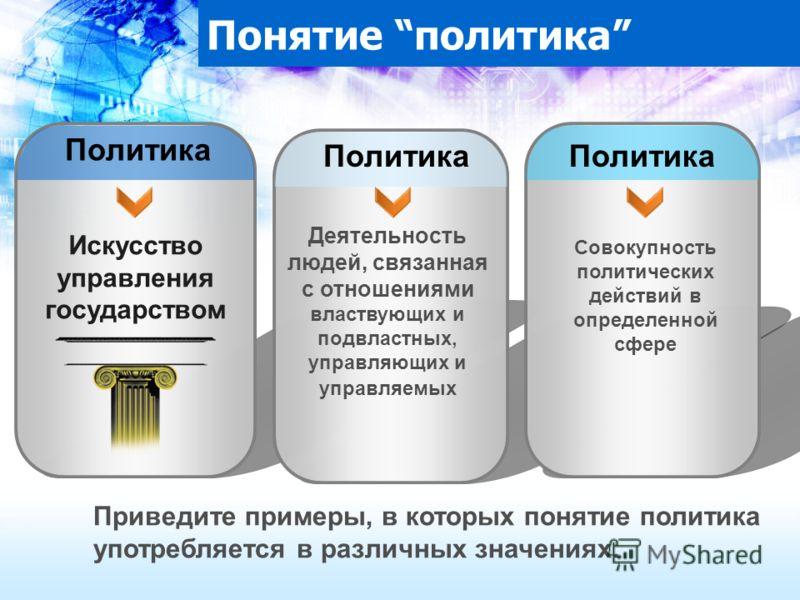 Искусство управления государством Деятельность людей, связанная с отношениями властвующих и подвластных, управляющих и управляемых Совокупность политических действий в определенной сфере Политика Понятие политика Политика Приведите примеры, в которых
