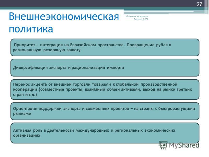 Внешнеэкономическая политика Минэкономразвития России, 2008 27 Приоритет - интеграция на Евразийском пространстве. Превращение рубля в региональную резервную валюту Диверсификация экспорта и рационализация импорта Перенос акцента от внешней торговли