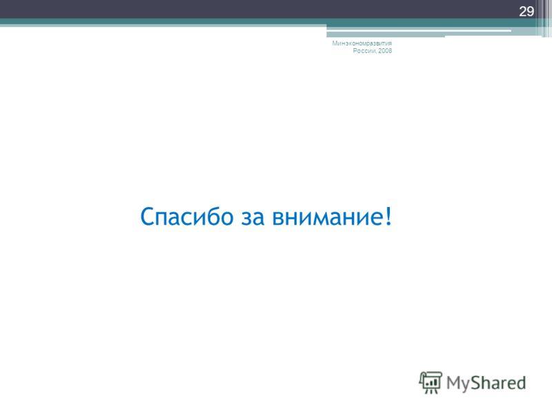 Минэкономразвития России, 2008 29 Спасибо за внимание!