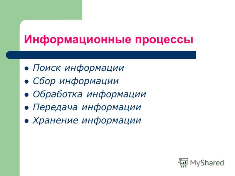 Информационные процессы Поиск информации Сбор информации Обработка информации Передача информации Хранение информации