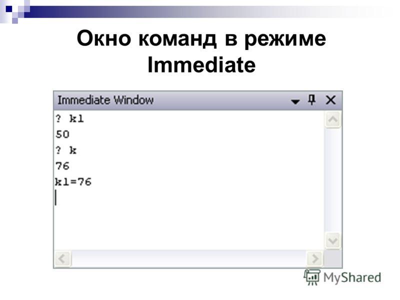 Окно команд в режиме Immediate