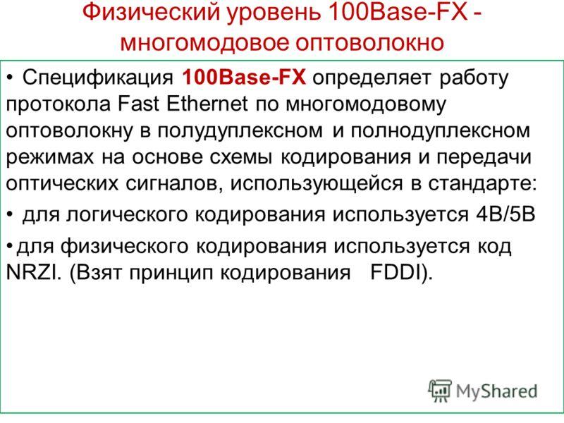 Физический уровень 100Base-FX - многомодовое оптоволокно Спецификация 100Base-FX определяет работу протокола Fast Ethernet по многомодовому оптоволокну в полудуплексном и полнодуплексном режимах на основе схемы кодирования и передачи оптических сигна