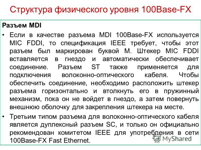 Структура физического уровня 100Base-FX Разъем MDI Если в качестве разъема MDI 100Base-FX используется MIC FDDI, то спецификация IEEE требует, чтобы этот разъем был маркирован буквой М. Штекер MIC FDDI вставляется в гнездо и автоматически обеспечивае
