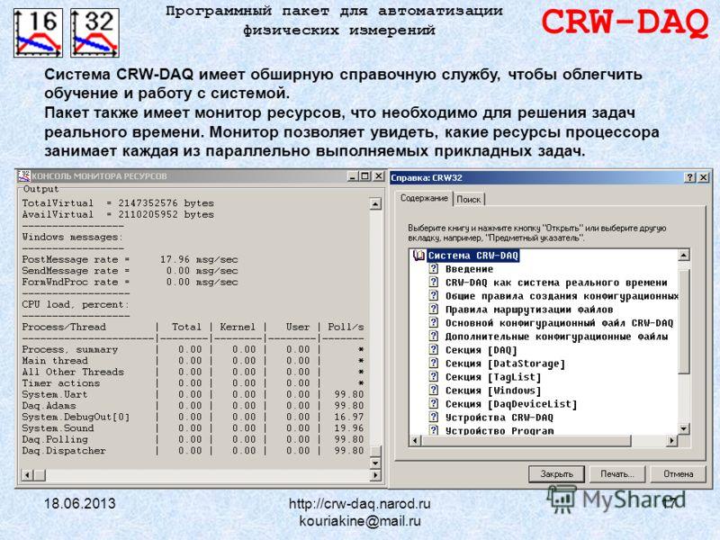 18.06.2013http://crw-daq.narod.ru kouriakine@mail.ru 17 CRW-DAQ Программный пакет для автоматизации физических измерений Система CRW-DAQ имеет обширную справочную службу, чтобы облегчить обучение и работу с системой. Пакет также имеет монитор ресурсо