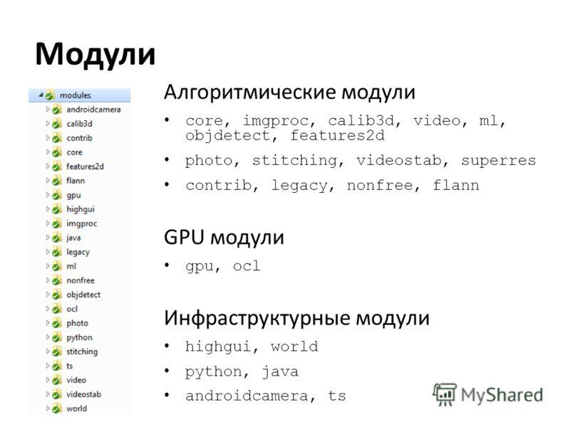 Модули Алгоритмические модули core, imgproc, calib3d, video, ml, objdetect, features2d photo, stitching, videostab, superres contrib, legacy, nonfree, flann GPU модули gpu, ocl Инфраструктурные модули highgui, world python, java androidcamera, ts