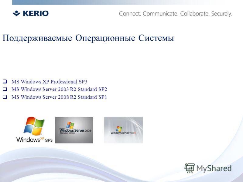 MS Windows XP Professional SP3 MS Windows Server 2003 R2 Standard SP2 MS Windows Server 2008 R2 Standard SP1 Поддерживаемые Операционные Системы