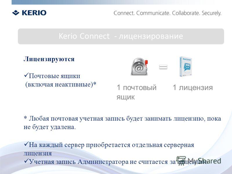 Kerio Connect - лицензирование Лицензируются Почтовые ящики (включая неактивные)* * Любая почтовая учетная запись будет занимать лицензию, пока не будет удалена. На каждый сервер приобретается отдельная серверная лицензия Учетная запись Администратор
