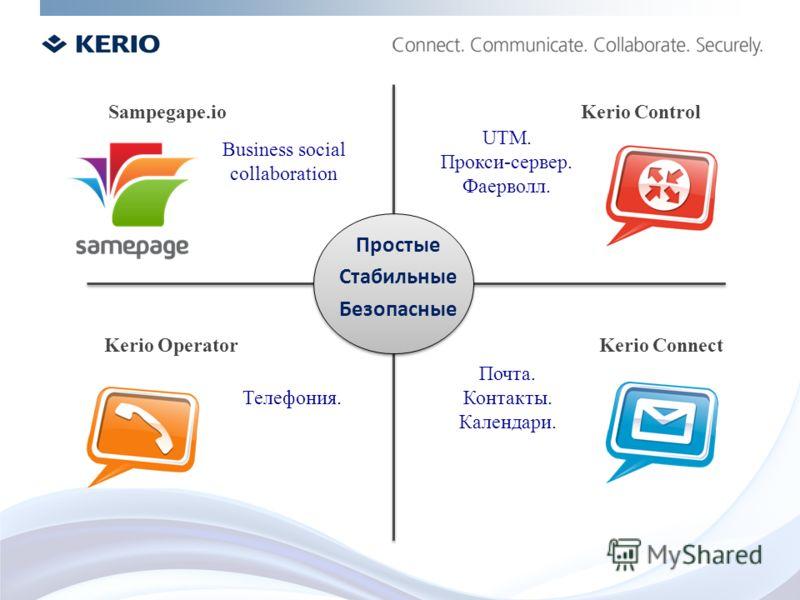 Business social collaboration Телефония. UTM. Прокси-сервер. Фаерволл. Почта. Контакты. Календари. Простые Стабильные Безопасные Kerio Connect Sampegape.io Kerio Operator Kerio Control