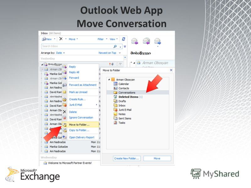 Outlook Web App Move Conversation