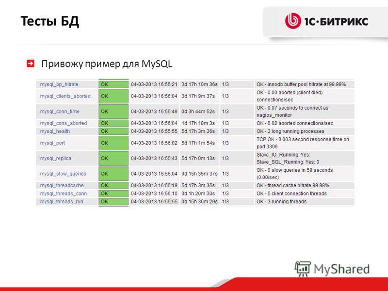 Тесты БД Привожу пример для MySQL