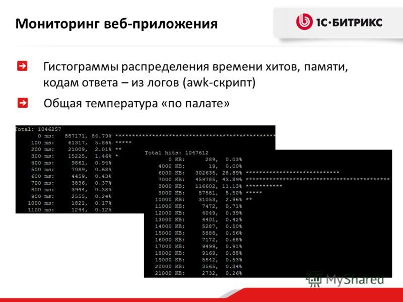 Мониторинг веб-приложения Гистограммы распределения времени хитов, памяти, кодам ответа – из логов (awk-скрипт) Общая температура «по палате»