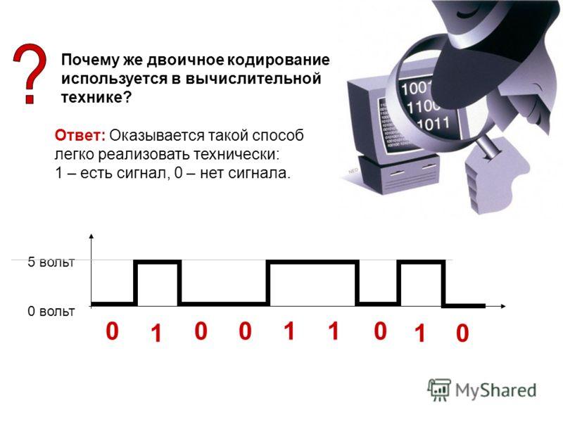 Почему же двоичное кодирование используется в вычислительной технике? Ответ: Оказывается такой способ легко реализовать технически: 1 – есть сигнал, 0 – нет сигнала. 0 вольт 5 вольт 0 1 00110 1 0