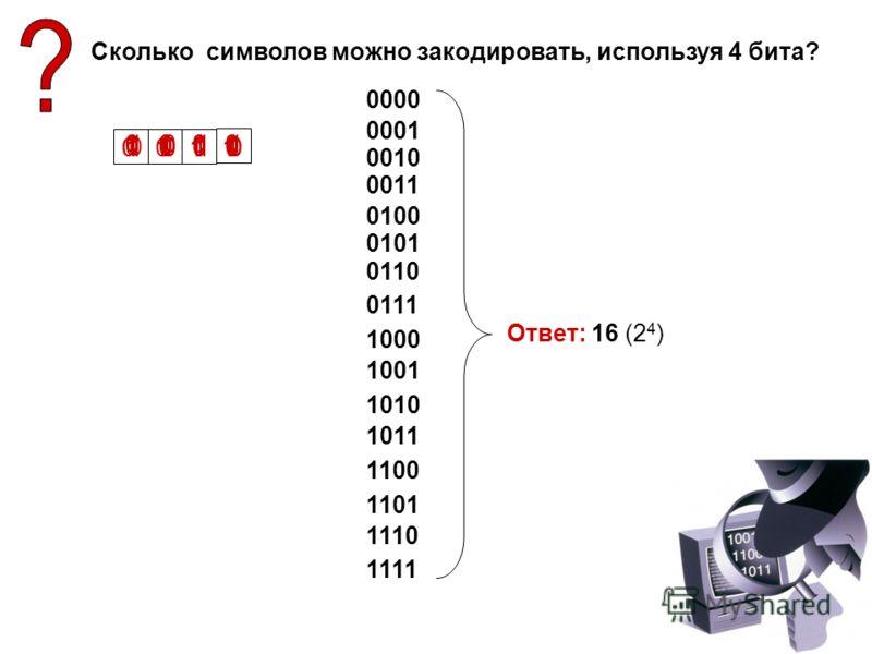 Сколько символов можно закодировать, используя 4 бита? 0000 0 0 0 0 0 1 0 0 1 0 0 0 1 1 0 1 0 0 0 1 0101 0 1 1 0 0 1 1 1 1 0 0 0 1 0 0 1 1 0 1010 1 0 1 1 1 1 0 0 1 1 0 1 1 1 1111 1 1 1 0 Ответ: 16 (2 4 )
