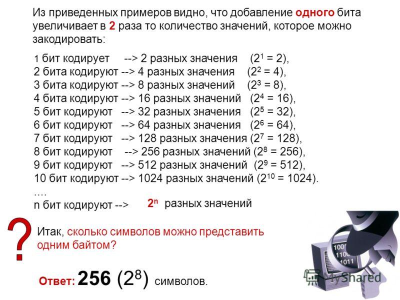 Из приведенных примеров видно, что добавление одного бита увеличивает в 2 раза то количество значений, которое можно закодировать: 1 бит кодирует --> 2 разных значения (2 1 = 2), 2 бита кодируют --> 4 разных значения (2 2 = 4), 3 бита кодируют --> 8