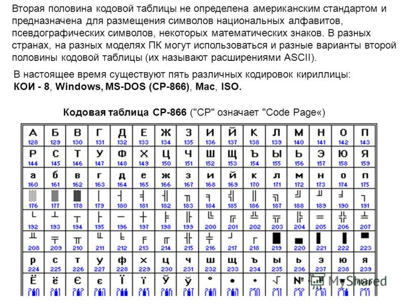 В настоящее время существуют пять различных кодировок кириллицы: КОИ - 8, Windows, MS-DOS (CP-866), Мас, ISO. Вторая половина кодовой таблицы не определена американским стандартом и предназначена для размещения символов национальных алфавитов, псевдо