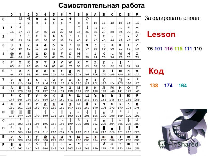 Самостоятельная работа Lesson Закодировать слова: Код 76 101 115 115 111 110 138 174 164