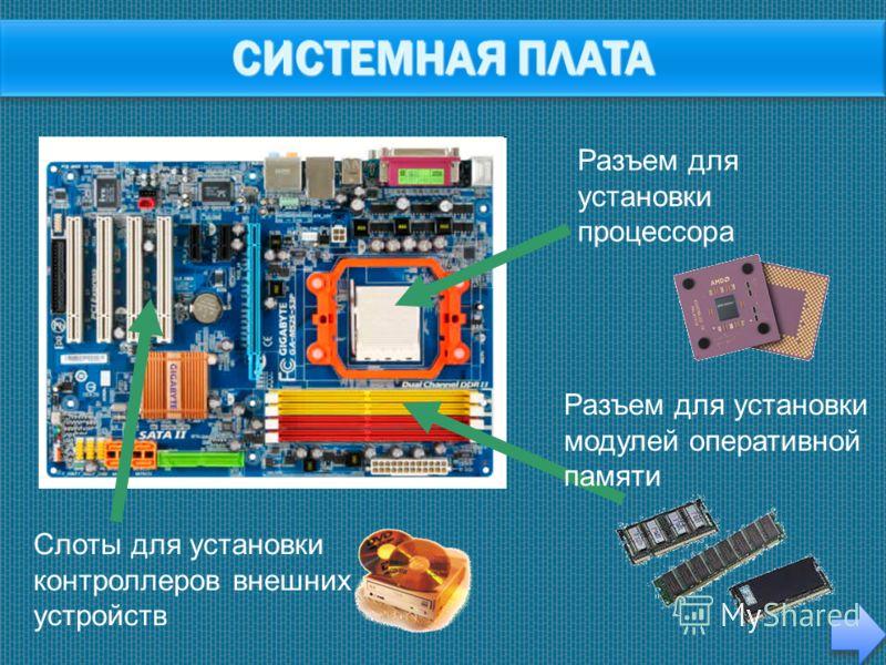 Слоты для установки контроллеров внешних устройств Разъем для установки процессора Разъем для установки модулей оперативной памяти